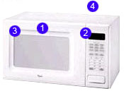 Diagram of a microwave that helps you find the correct part number for Microwave replacement parts